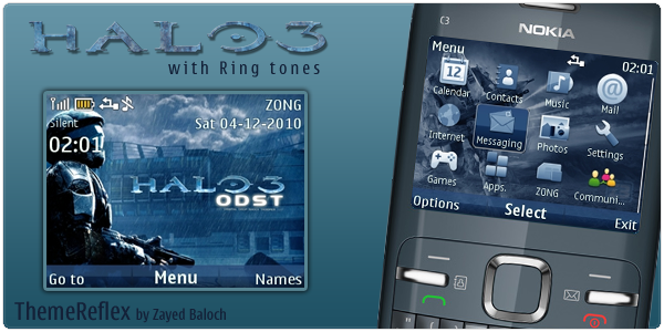 Halo 3 mobile themes for Nokia C3 by ThemeReflex Zayed Baloch