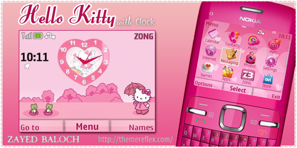 Hello Kitty With Clock Nokia C3 Themes Themereflex