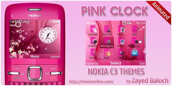 Pink Clock Nokia C3 Animated Theme ThemeReflex