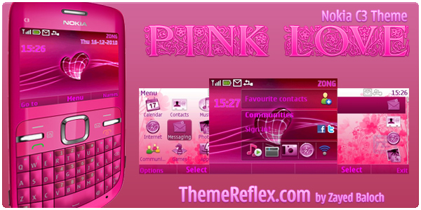 Pink Love Nokia C3 Themes