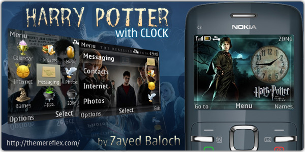 Harry Potter with Clock Nokia C3 theme