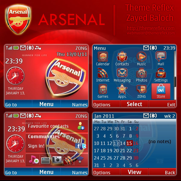 Arsenal Nokia C3 Themes
