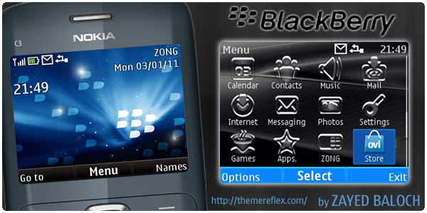 Yes this is BlackBerry theme for Nokia C3. First I try to include the Clock