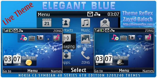 So I have made this Elegant Blue Live theme for Nokia C3 / X2-01 with 12