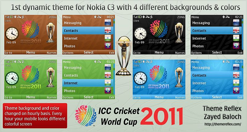 Cricket World Cup theme for Nokia C3