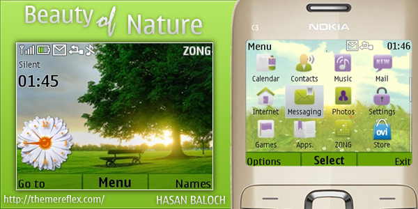 Beauty of Nature theme for Nokia C3 / X2-01 – ThemeReflex
