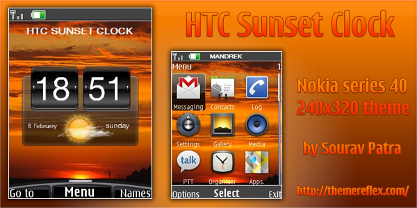 HTC Sunset Clock – Nokia 40s 240×320 theme