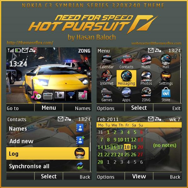 Need for Speed mobile theme Nokia C3 themes