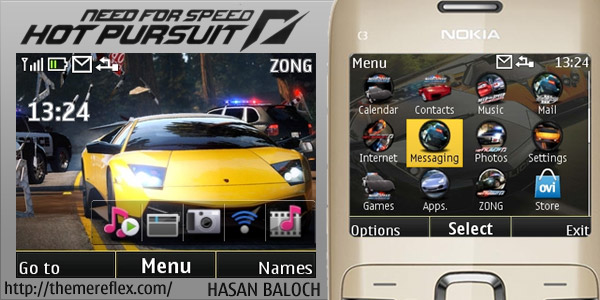 Need for Speed Hot Pursuit theme for Nokia C3 / X2-01