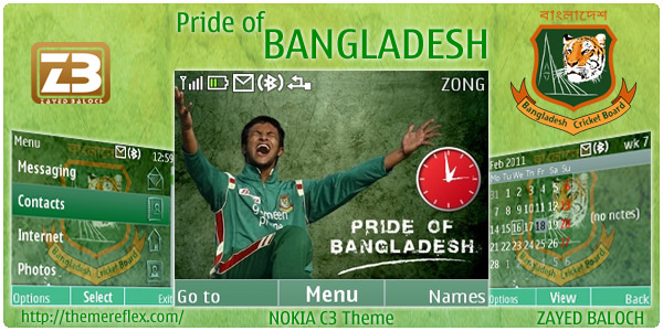 Bangladesh theme for Nokia C3, Nokia X2-01 Themes