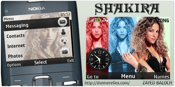 Shakira mobile theme Nokia C3 theme