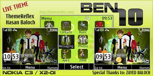 BEN10 Live theme for Nokia C3 / X2-01 – ThemeReflex