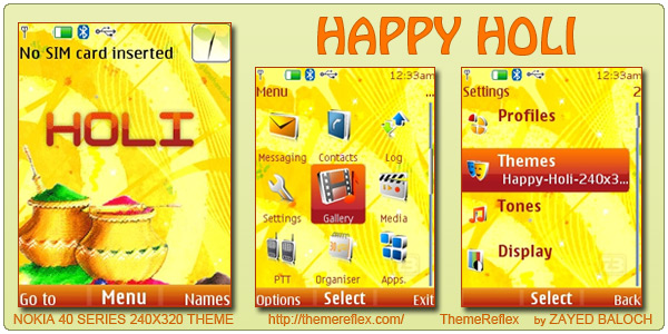 Happy Holi animated theme for Nokia 240×320