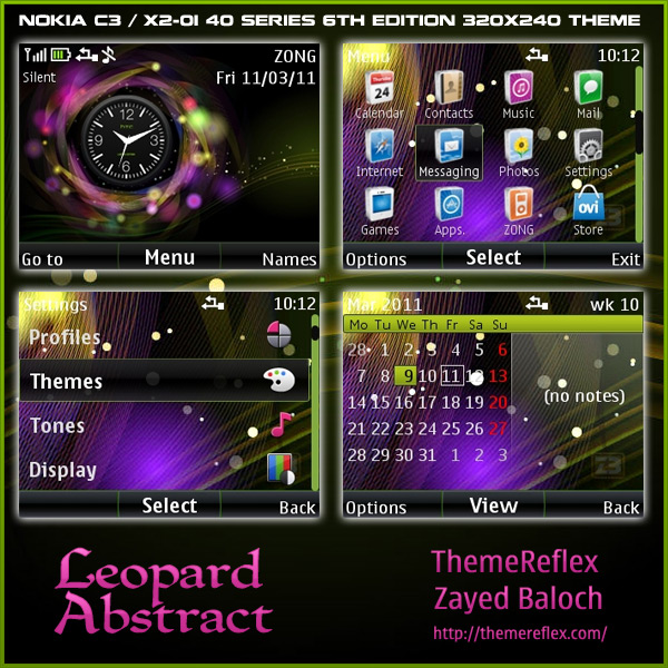 Leopard abstract clock theme for nokia c3 x2 01 themereflex