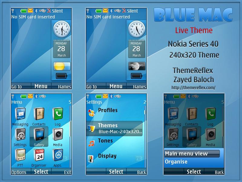 Blue MAC Live theme for Nokia X2 / 240×320 – ThemeReflex