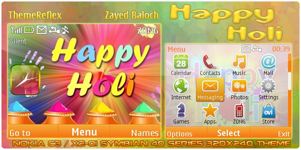 Happy Holi theme for Nokia C3 / X2-01