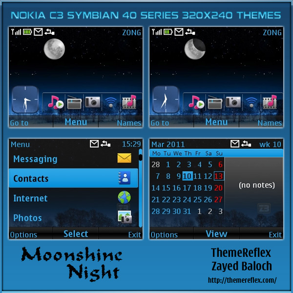 Moonshine Night theme for Nokia C3 / X2-01 – ThemeReflex