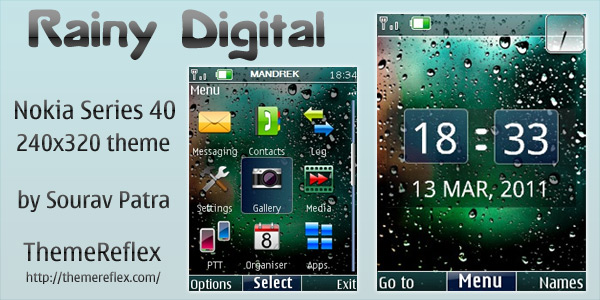Rainy Digital theme for Nokia 240×320