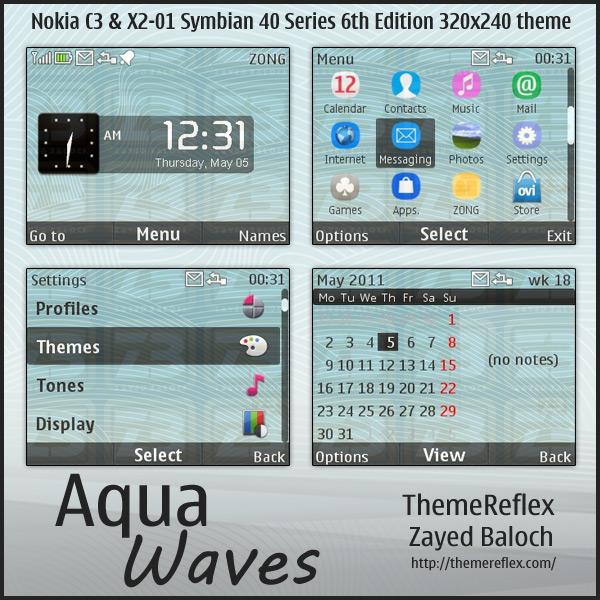 Aqua Waves theme for Nokia C3 & X2-01