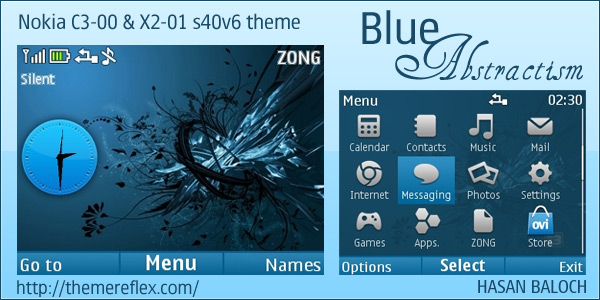 Nokia C3 abstract clock theme
