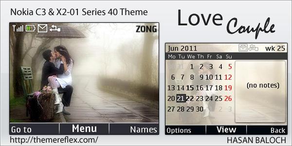Love Wallpaper Nokia X2 01 : Love couple theme for Nokia c3 & X2-01 ThemeReflex