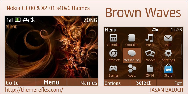 Brown Waves theme for Nokia C3 & X2-01