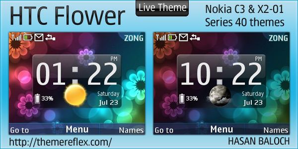 HTC Flower Live theme for Nokia