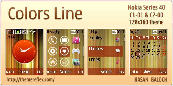 Colors Lines theme for Nokia C1-01 & C2-00