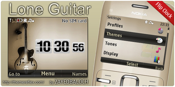 Lone Guitar Flip Clock theme