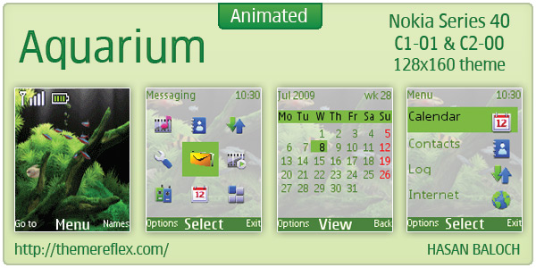 Aquarium animated theme for Nokia C1-01