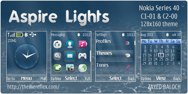 Aspire Lights Flash Lite clock theme for Nokia C1-01