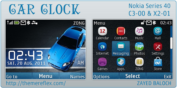 Car Clock flash lite Nokia theme
