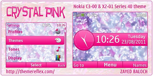 Crystal pink theme for Nokia C3