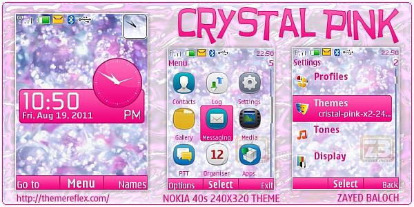 Crystal Pink theme for Nokia Flash lite