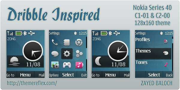 Flash lite Clock theme for Nokia C1-01 C2-00