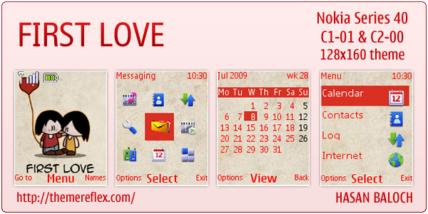 First Love Nokia C1-01 theme