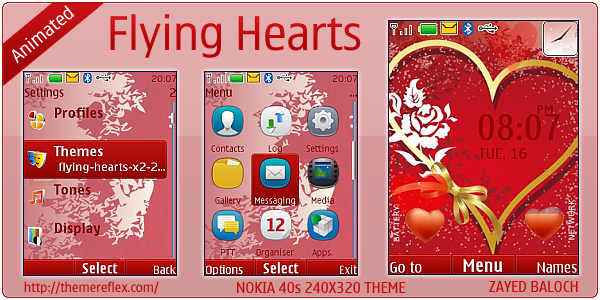 Flying Hearts animated theme for Nokia