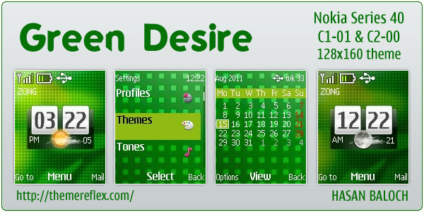Green Desire theme for Nokia C1-01 & C2-00