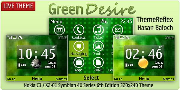 Green Desire Live theme for Nokia C3 & X2-01