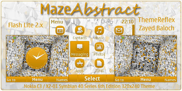 Maze Abstract Flash lite clock theme