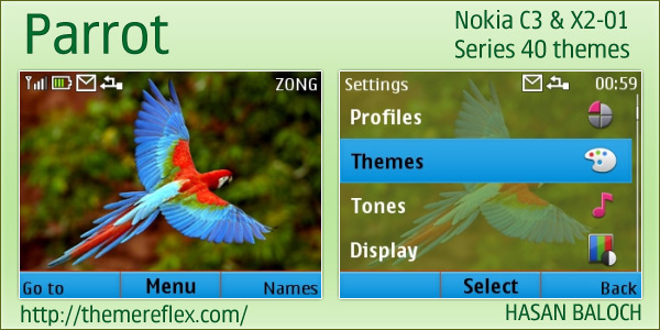 Themes mobile themes nokia nokia animal themes parrot theme x2 01