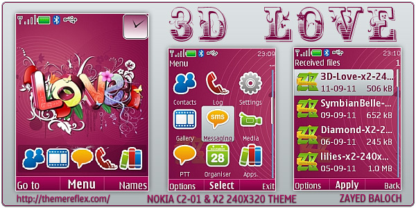 3D Love Nokia themes