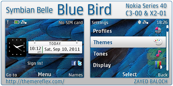 Nokia Symbian Belle Blue Bird theme