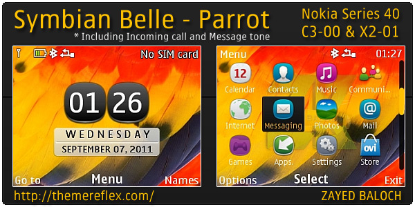 Symbian Belle Parrot theme for Nokia