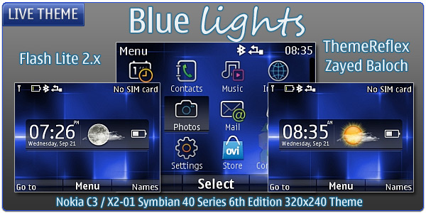 Blue Lights live theme for Nokia
