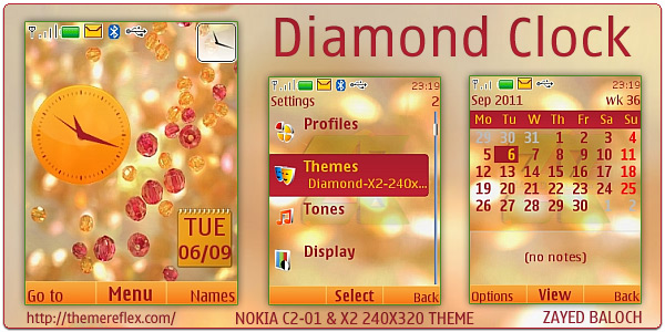 Diamond flash lite clock theme for Nokia