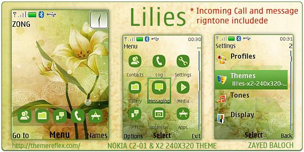Lilies theme for Nokia