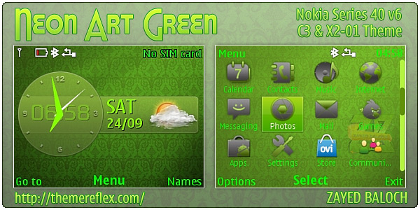 Neon Art Green theme