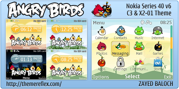 Angry Birds live theme for Nokia C3, X2-01 & Asha 200,201,302  (Updated)
