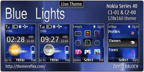 Blue Lights live theme for Nokia C1-01 & C2-00 (Updated
